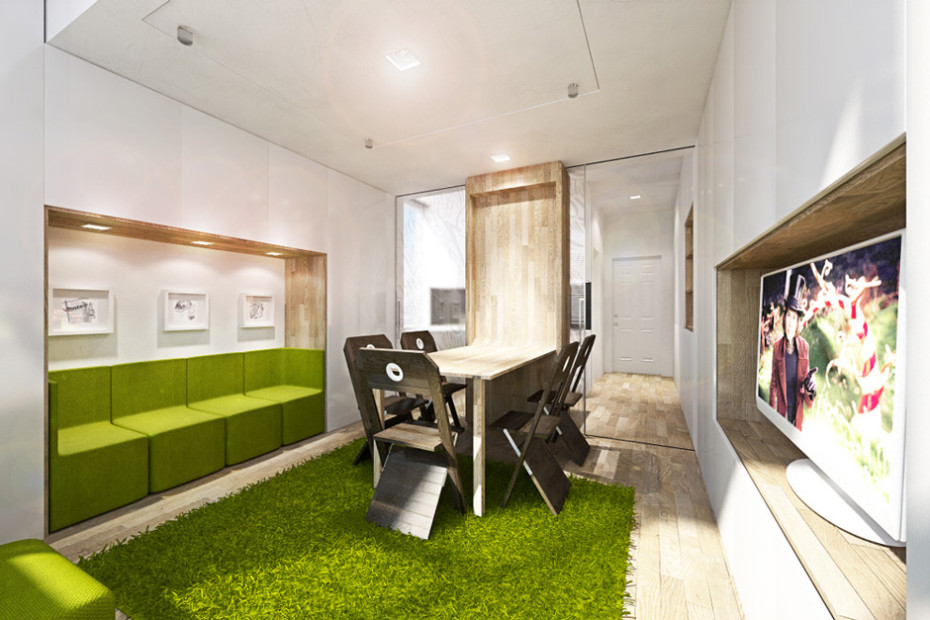 Дизайн квартиры трансформер: обеденная зона в гостиной