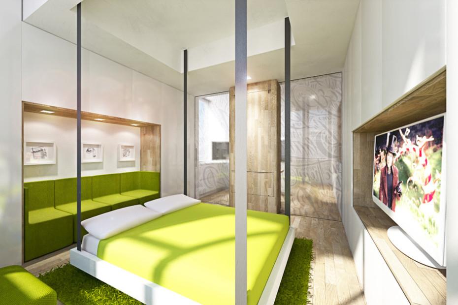 Дизайн квартиры трансформер: кровать в гостиной