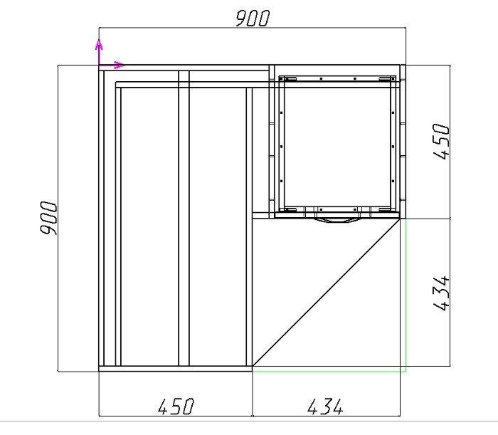 как рассчитать угловой фасад шкафа