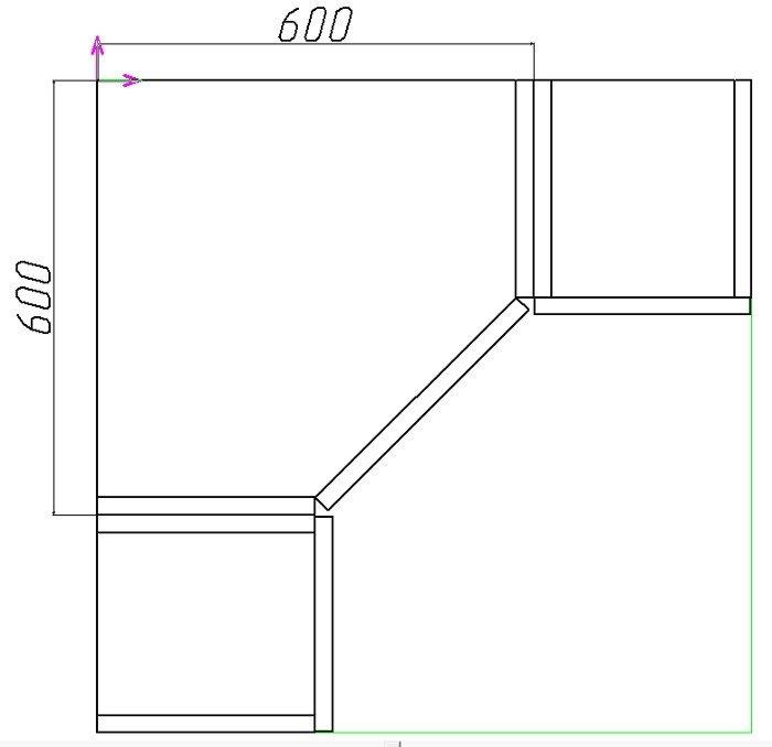как рассчитать фасад углового шкафа кухни