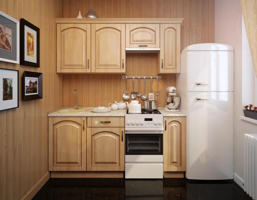 Простой линейный кухонный гарнитур