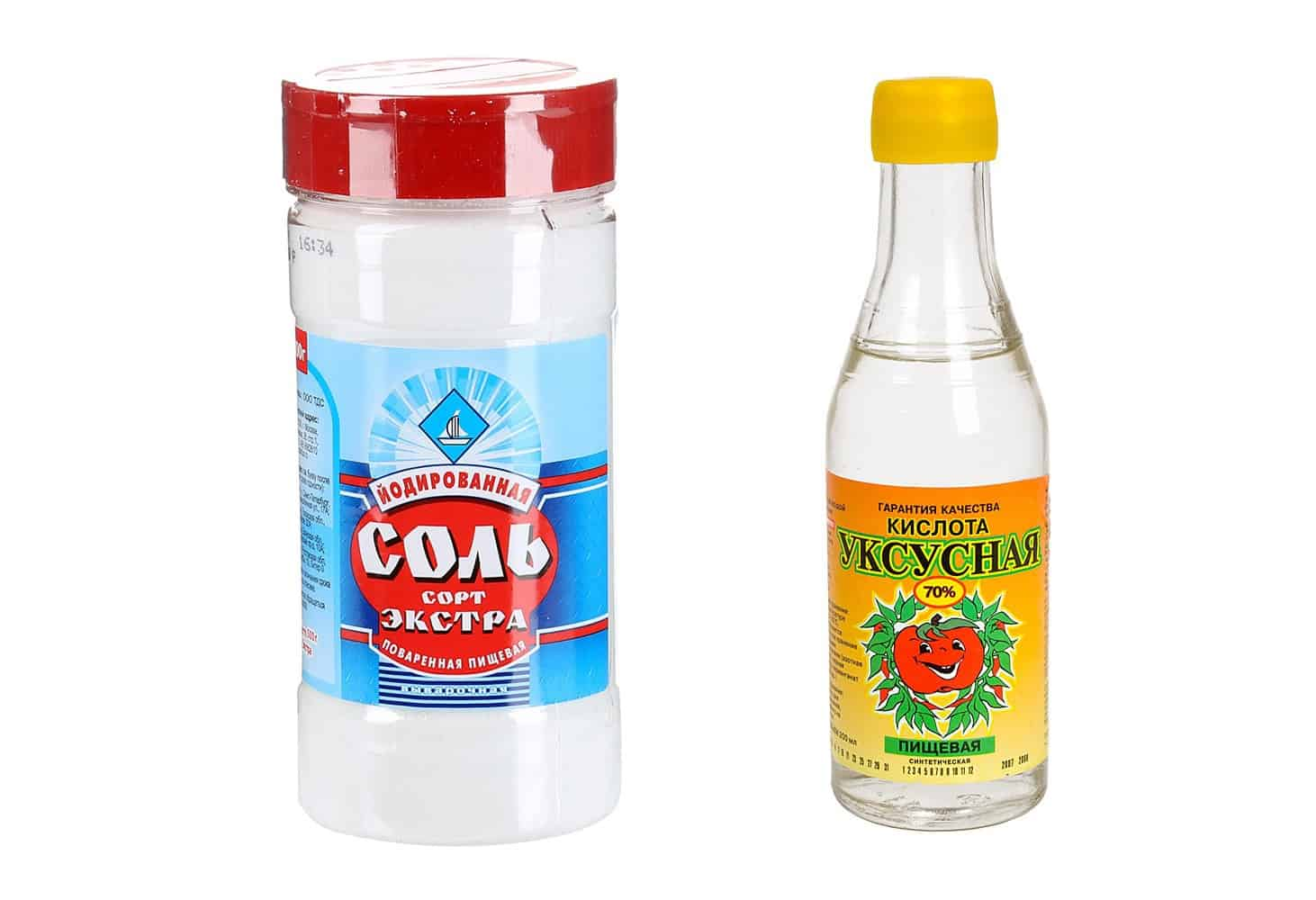 Чистка уксусной кислотой и солью