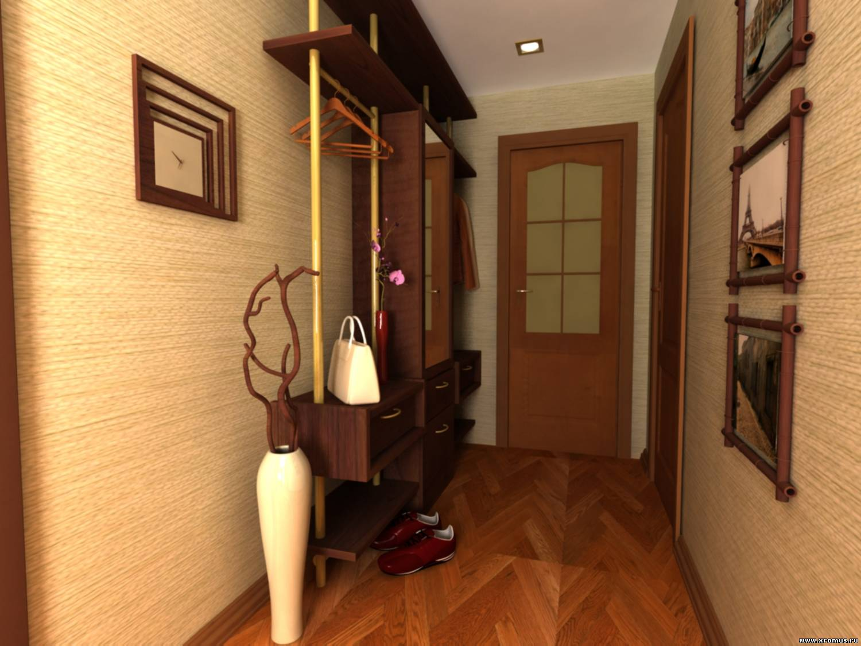 яркий дизайн прихожей комнаты с узким коридором