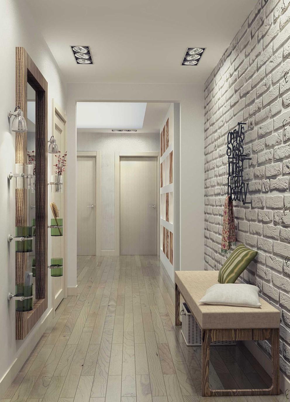 красивый стиль коридора с узким коридором
