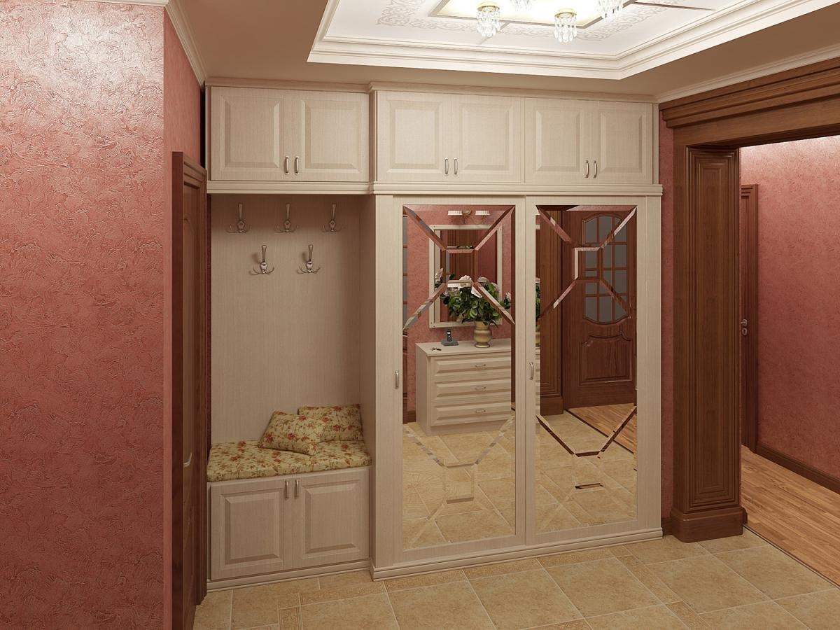 светлый интерьер прихожей комнаты с узким коридором