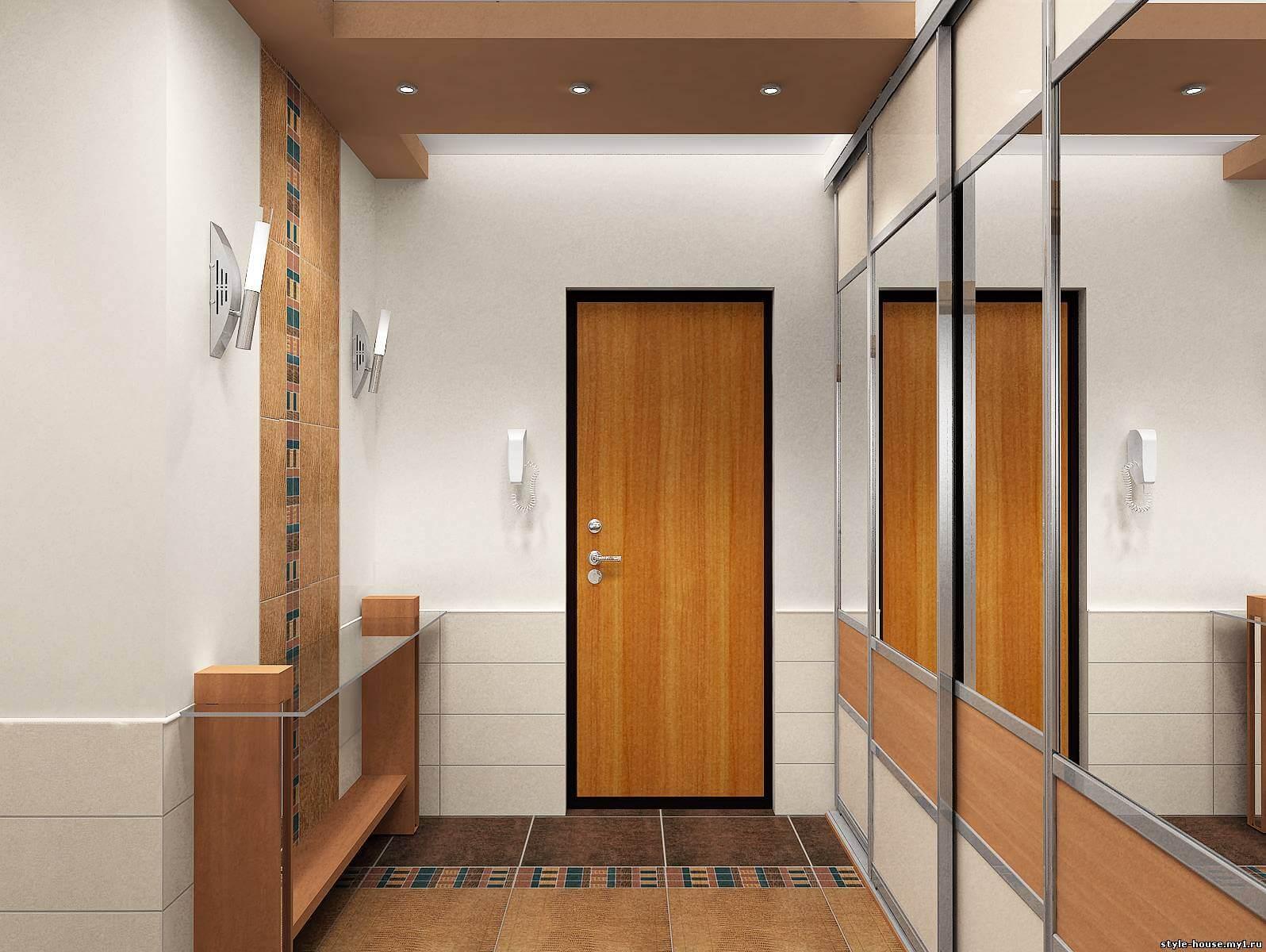 функциональный дизайн прихожей комнаты с узким коридором