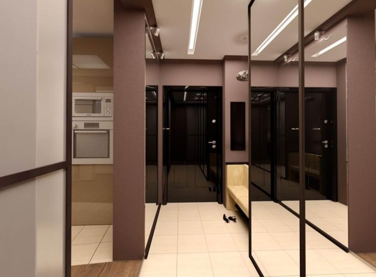 яркий дизайн коридора с узким коридором