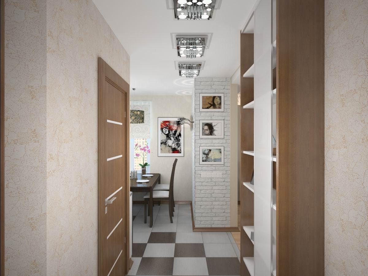 светлый интерьер коридора с узким коридором
