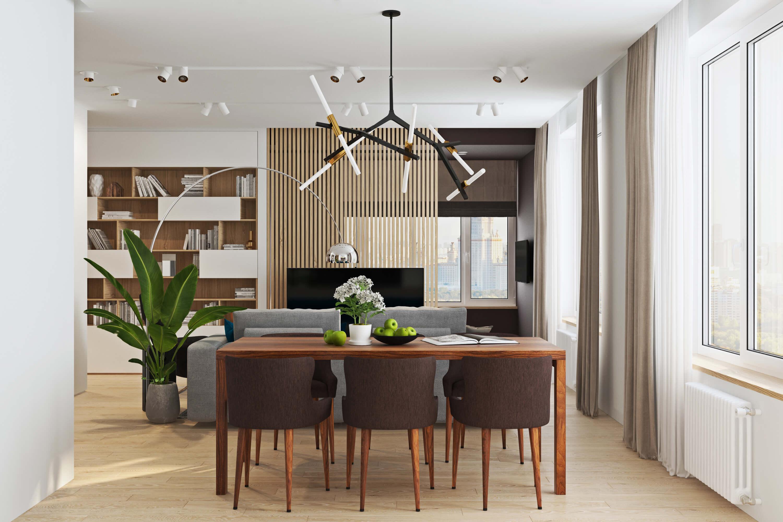 объединение гостиной и кухни в современном стиле