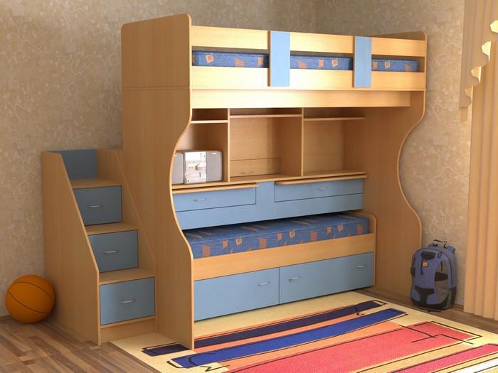Двухъярусная кровать с разноцветным фасадом