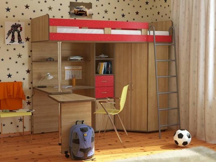 Кровать с рабочим местом и шкафом