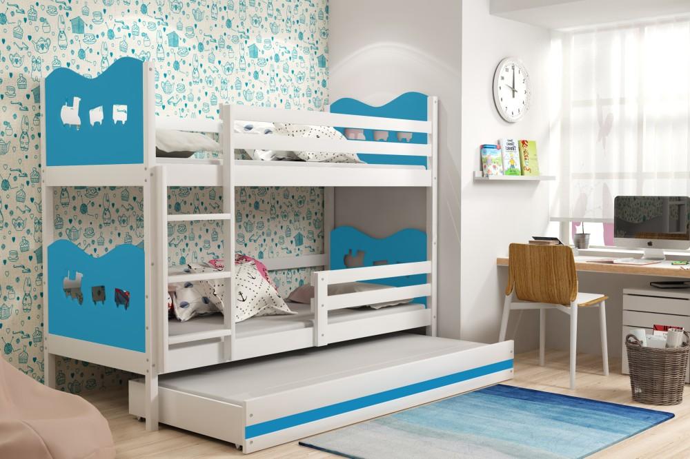 Двухъярусная кровать белый корпус, синие вставки