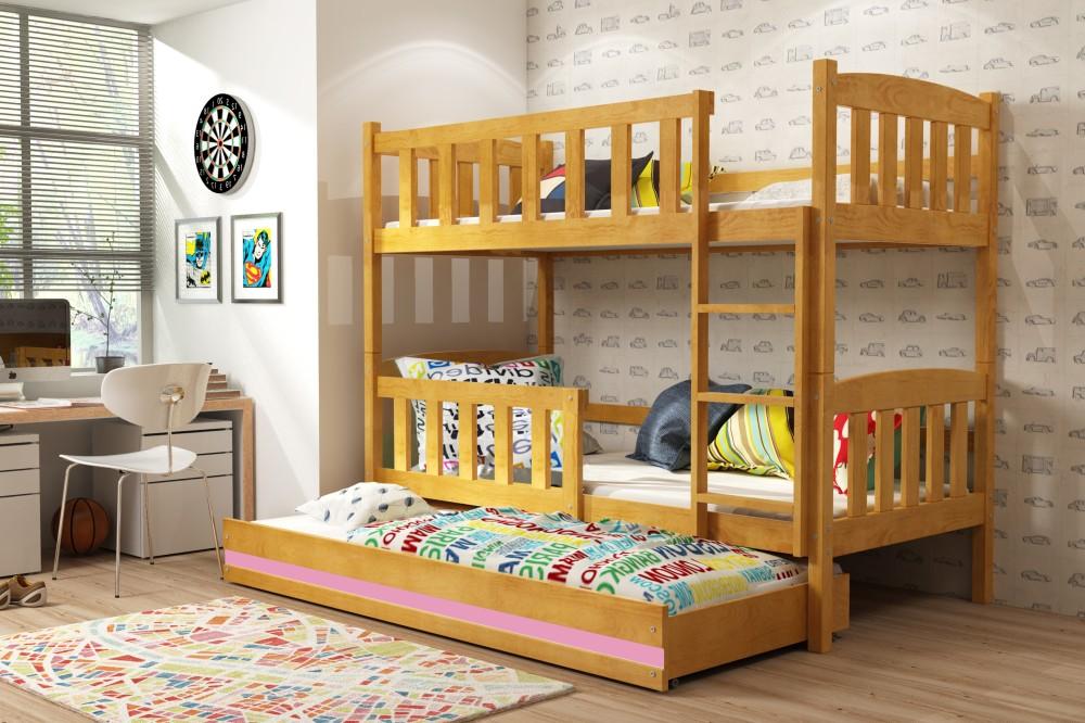 Двухъярусная кровать цвета ольхи, 3 места