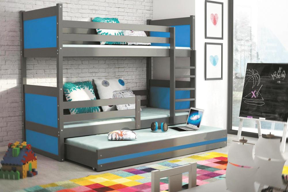 Двухъярусная кровать серого цвета, синий декор