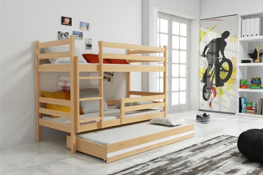 Двухъярусная кровать Натуральная сосна, 3 места