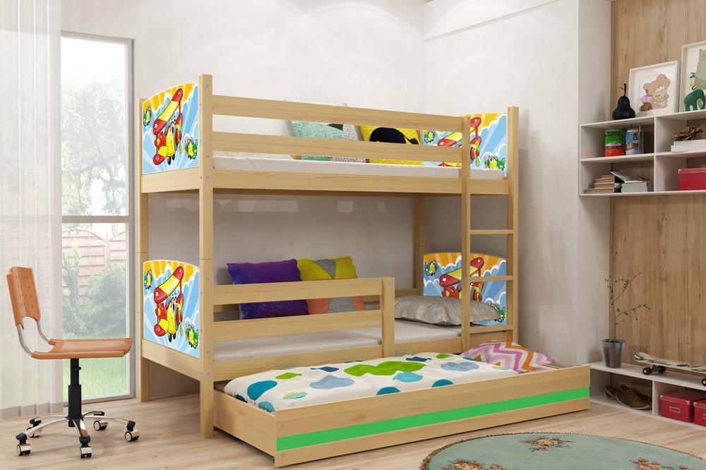 Двухъярусная кровать 3 места, мульт декор