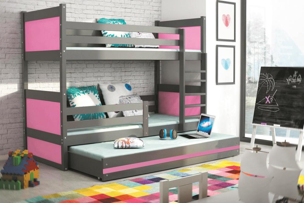 Двухъярусная кровать Графит/розовый, 3 места