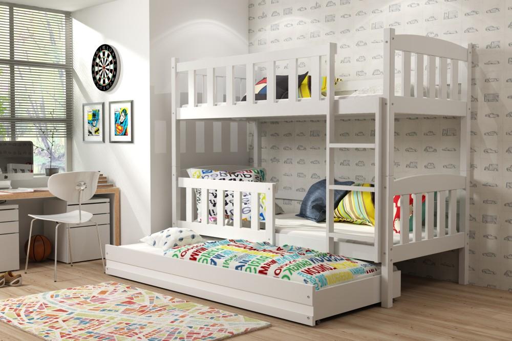 Двухъярусная кровать белая, 3 места