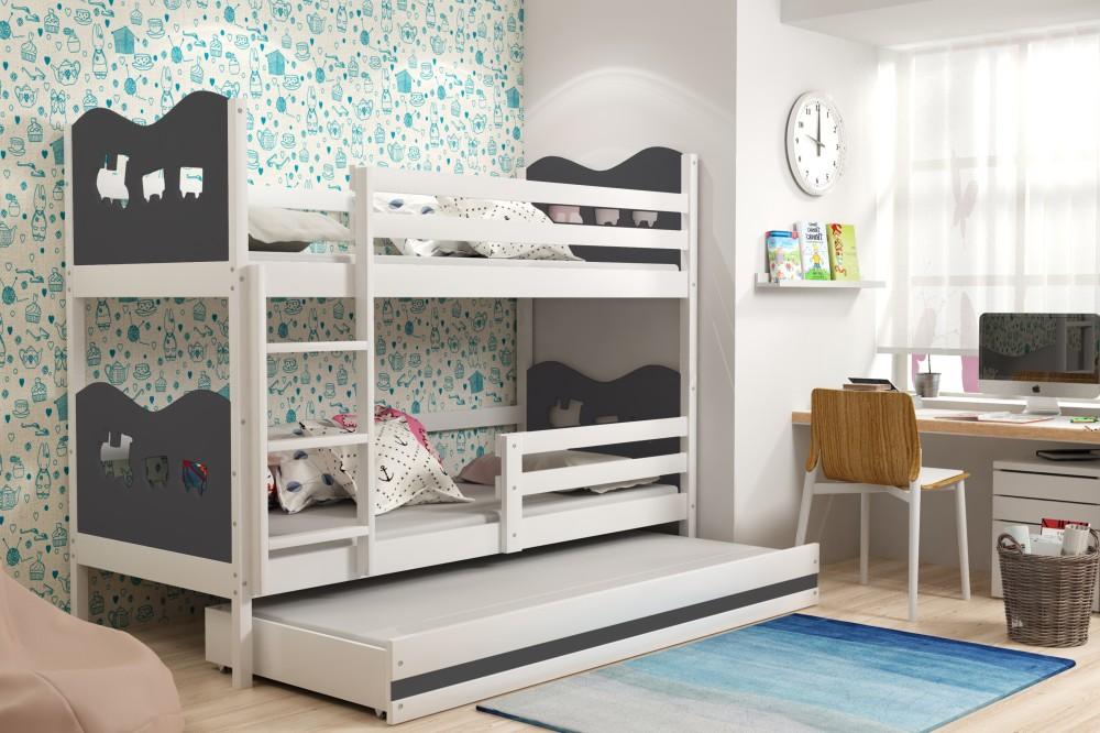 Двухъярусная кровать со вставками цвета графита