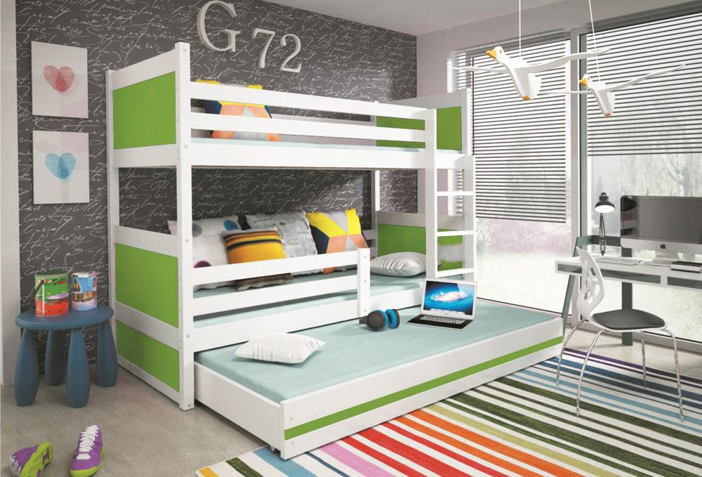 Двухъярусная кровать Белая/Зелёный декор