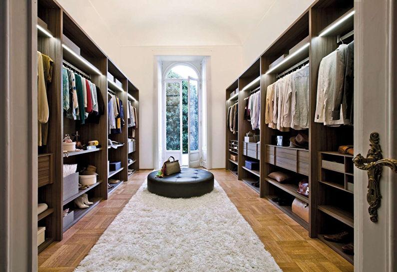 Дизайн гардеробной комнаты - Параллельная планировка