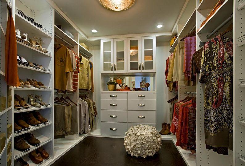 Дизайн гардеробной комнаты - П-образная планировка
