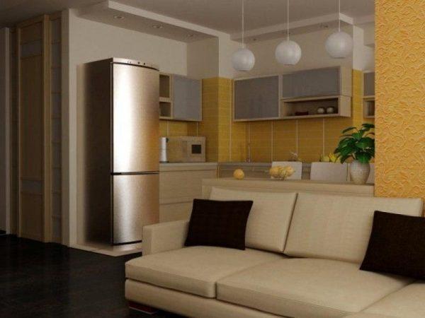 Интерьер кухни гостиной в пастельных тонах