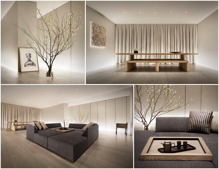 Концептуальный интерьер гостиной в японском стиле