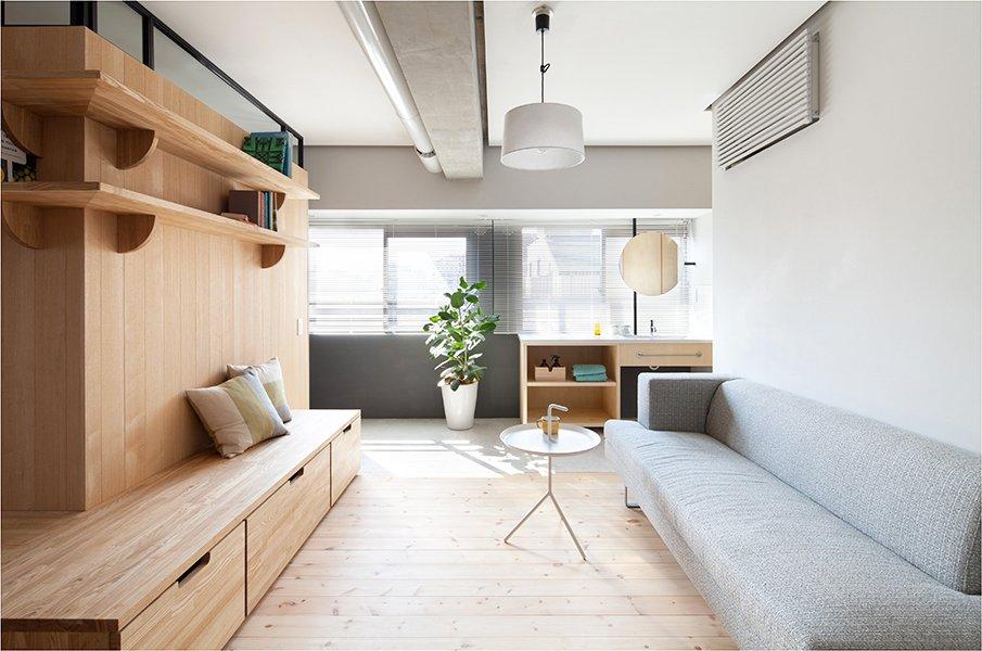 Стильная современная гостиная в японском стиле