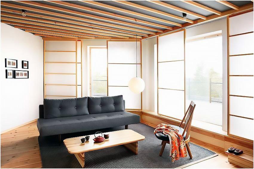 Запоминающийся интерьер гостиной в японском стиле