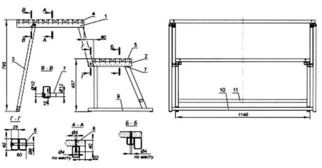 Схема изготовления садового стола с лавочкой