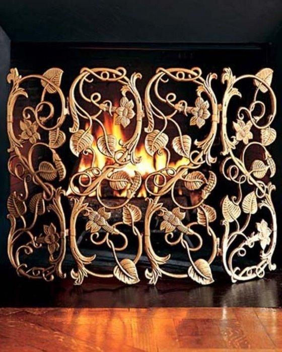 Кованые ворота для камина с розами
