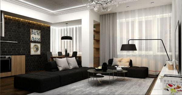 черный диван в интерьере гостиной фото