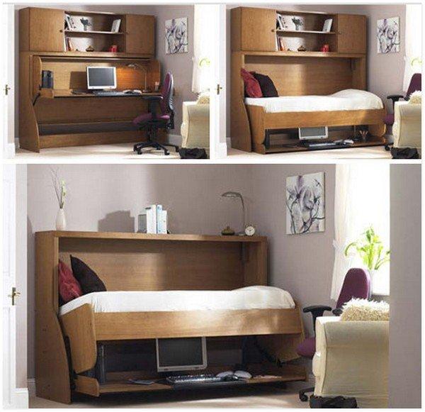 Откидная кровать в маленькой квартире