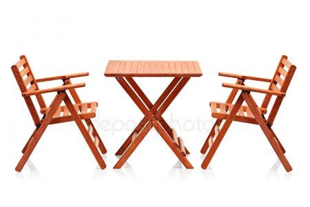 Деревянный складной мебели пляж — стоковое фото
