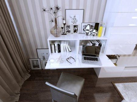 Стенное хранение и книжный шкаф в современном стиле — стоковое фото