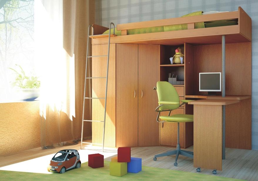 Конструкция занимает немного места но может заменять сразу несколько элементов мебели