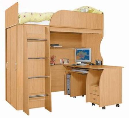Кровать-чердак для подростка с рабочей зоной на колесиках