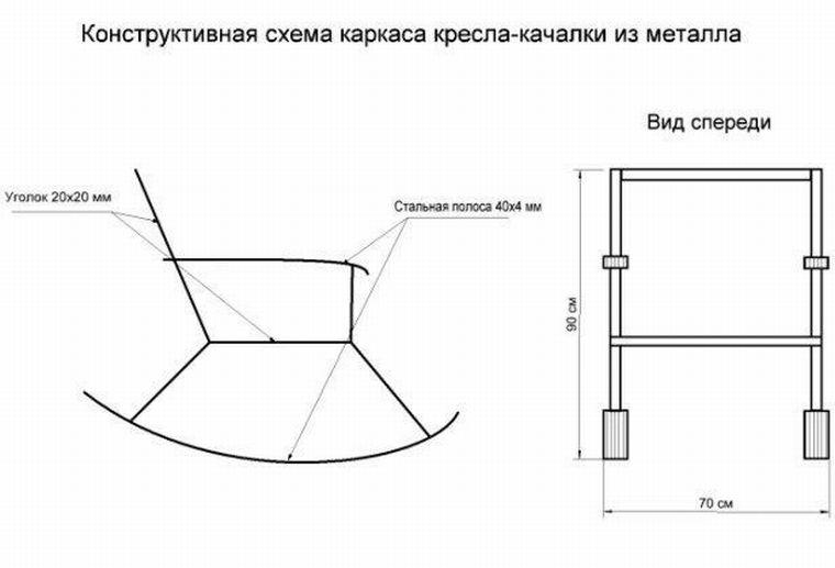 Чертеж металлического кресла