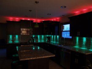 дизайн кухни с светодиодами