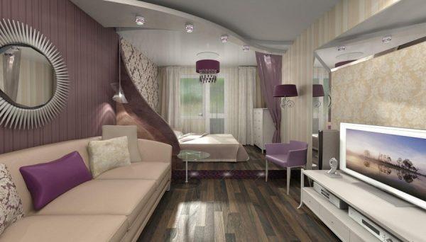 Дизайн гостиной спальни 18 кв м