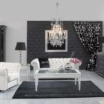 Black White Interior Design Living Room With White Tufted Sofa Ideas Also Wooden Glass Coffee Table On The Black Carpet And Console Table  Regarding  White And Black Living Room Furniture