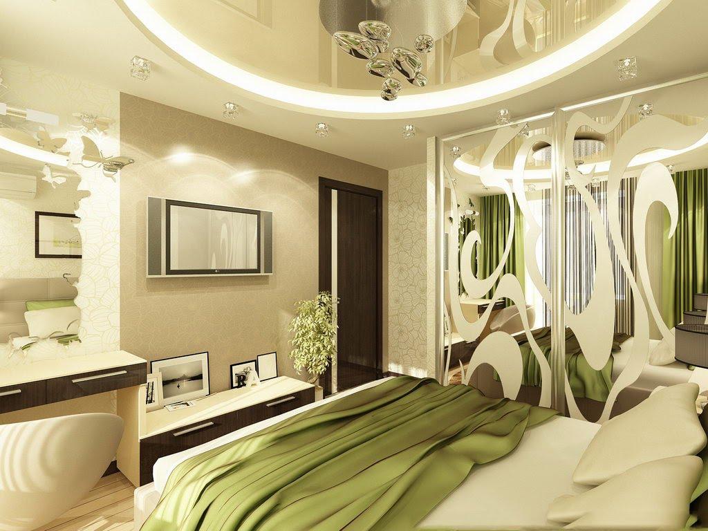 современный дизайн спальни с зелеными эллементами декора