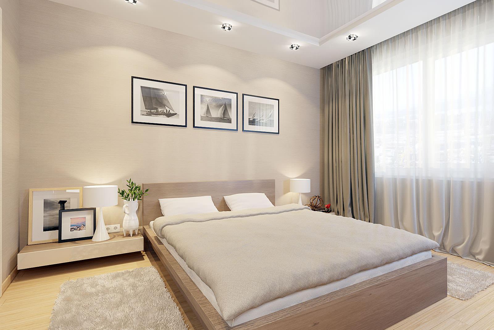 спальня в бежевых тонах с картинами над кроватью, стиль минимализм