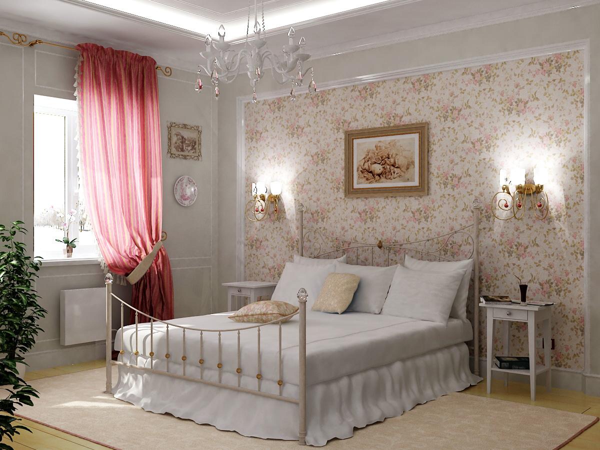 кровать с кованными деталями в интерьере спальни в стиле прованс