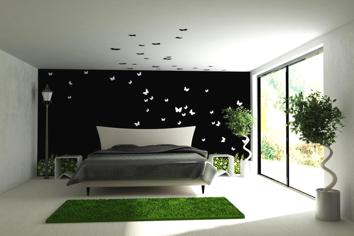декор бабочки на черной стене в спальне минимализм