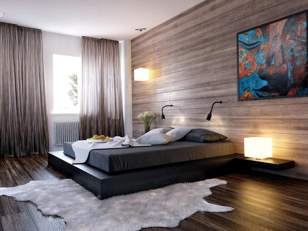 оформление стен в спальне фактура древесины