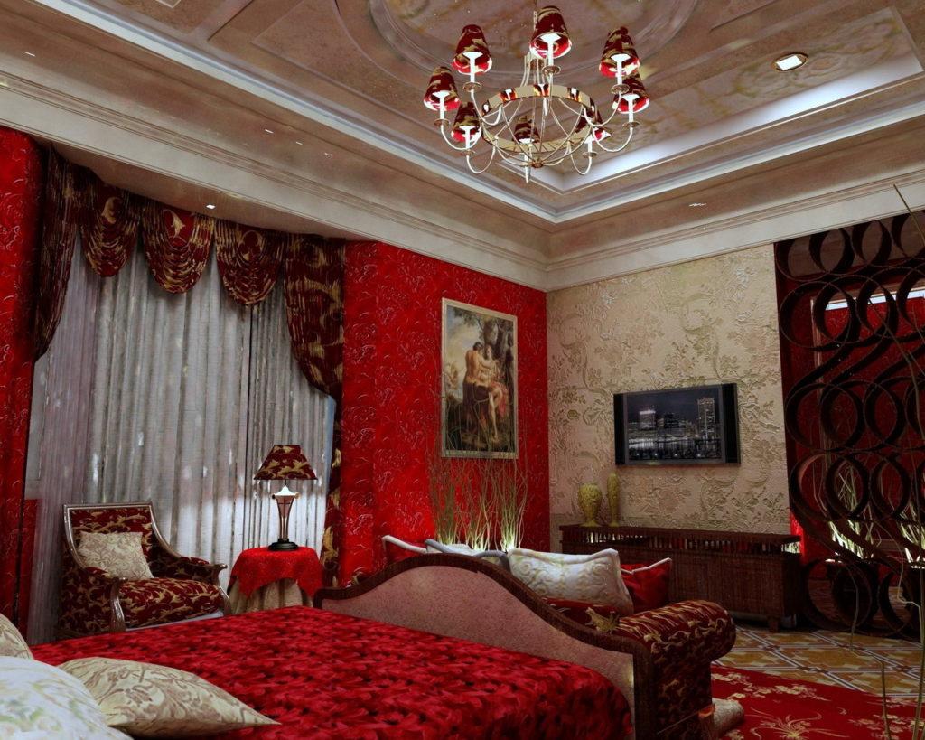 оформление стен в спальне красный цвет