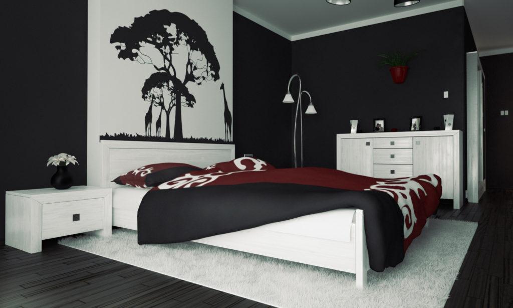 оформление стен в спальне черный цвет