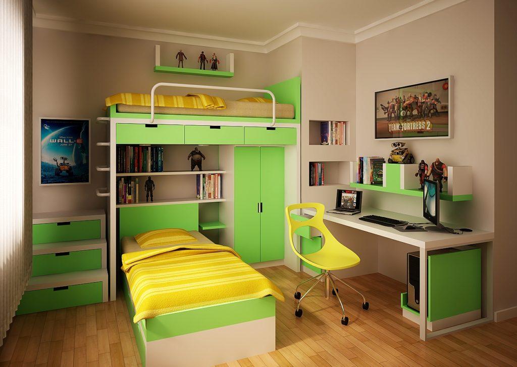 Современная мебель в детской комнате для двух сыновей